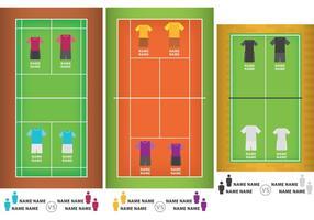 Cour de badminton avec des uniformes vecteur