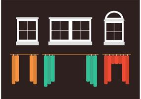 Fenêtres et rideaux vecteur