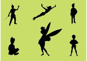 Peter pan vector silhouettes