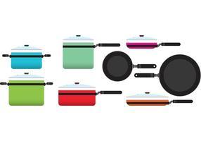 Casseroles de cuisine colorées vecteur