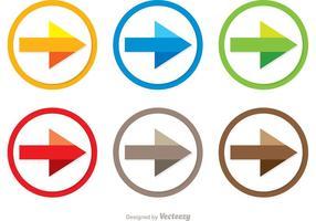 Vecteurs d'icône de flèche de prochaine étape colorés