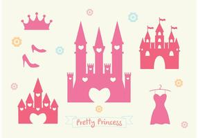 Ensemble de vecteur Pink Princess Castle