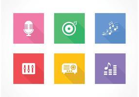 Icônes gratuites de musique de musique plate vecteur