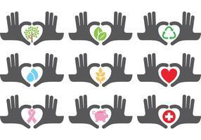 Aider les icônes des mains vecteur