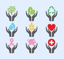 Symboles vectoriels des mains aidantes