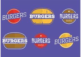 Étiquettes vintage burger vecteur
