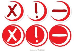 Skethcy Red Canceled Circle Icons Vector Pack