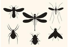 Silhouettes d'insectes vectoriels vecteur