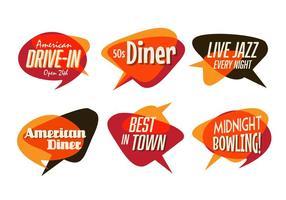 Ensemble de diner, de jazz et de restauration rapide des années 50 vecteur