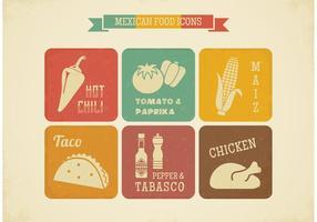 Icônes rétro rétro mexican food vector