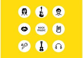 Symboles de musique rock vectoriel gratuit Pixel