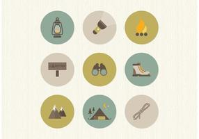 Icônes gratuites de camping plat vecteur