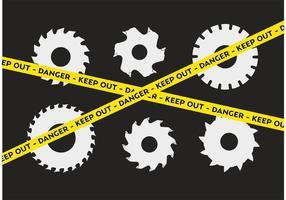 Mise en garde Ensemble de lame de scie circulaire vecteur