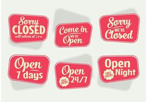 Vecteurs rétro des signes ouverts