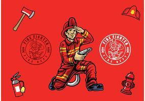 Pompier Isolé vecteur