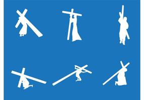 Jésus portant les vecteurs de la croix vecteur