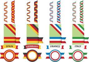 Drapeaux et rubans européens vecteur