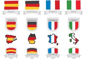 Drapeaux et badges européens vecteur