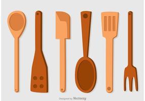 Ensemble vectoriel icônes en cuillère en bois