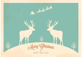 Free Christmas Retro Santa's Sleigh vecteur