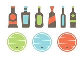 Whisky Barrel and Bottle Vectors