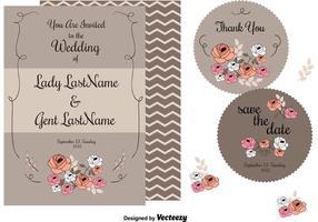 Cartes d'invitation de mariage vecteur
