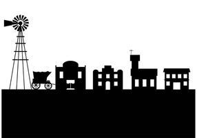 Vieille silhouette de la ville de l'Ouest