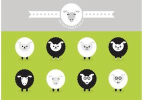 Icônes vectorielles isolées de moutons libres