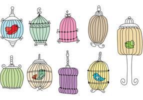 Écriture de main Cages d'oiseaux vecteur