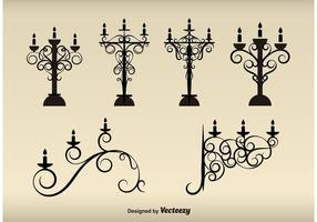 Silhouettes de lampes vintage vecteur