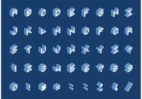 Vecteur de police pixel isométrique gratuit