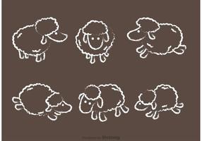 Ensemble vectoriel de moutons dessiné à la craie