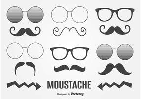 Mignons vecteurs de moustache vecteur