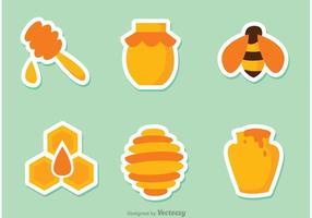 Autocollants d'abeille de miel vecteur
