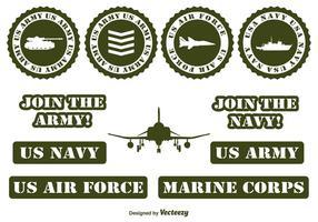 Éléments vectoriels militaires vecteur