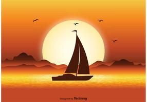 Illustration du coucher du soleil vecteur