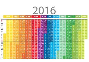 Calendrier vertical coloré 2016 vecteur
