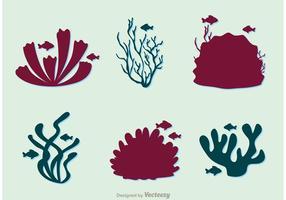 Silhouette Ensemble de récifs coralliens et de poissons vecteur