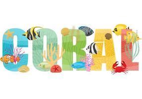 Récif de corail avec poisson vecteur