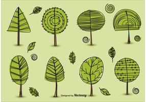 Vecteurs d'arbres dessinés à la main