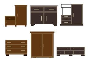 Vecteurs de meubles en bois vecteur
