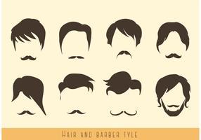 Vecteurs de cheveux et de moustaches vecteur