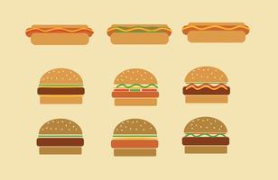 Fast Food Hamburgers et Hot Dog Vectors