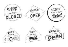 Étiquettes d'affaires ouvertes et fermées gratuites vecteur