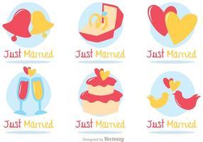 Vecteur d'icônes plates mariées
