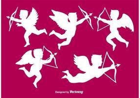 Saint valentine angel silhouette vecteur