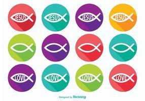 Icônes de symboles de poisson chrétien vecteur