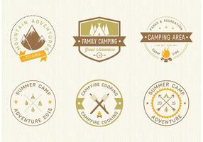 Étiquettes vectorielles de camping gratuites vecteur