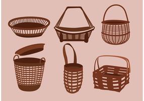 Simple vieux dessins de panier vecteur