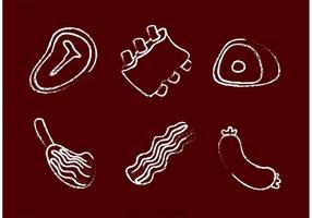 Vecteurs de viande dessinés à la craie vecteur